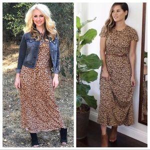 LulaRoe Maria Maxi Dress Sz L Leopard Print